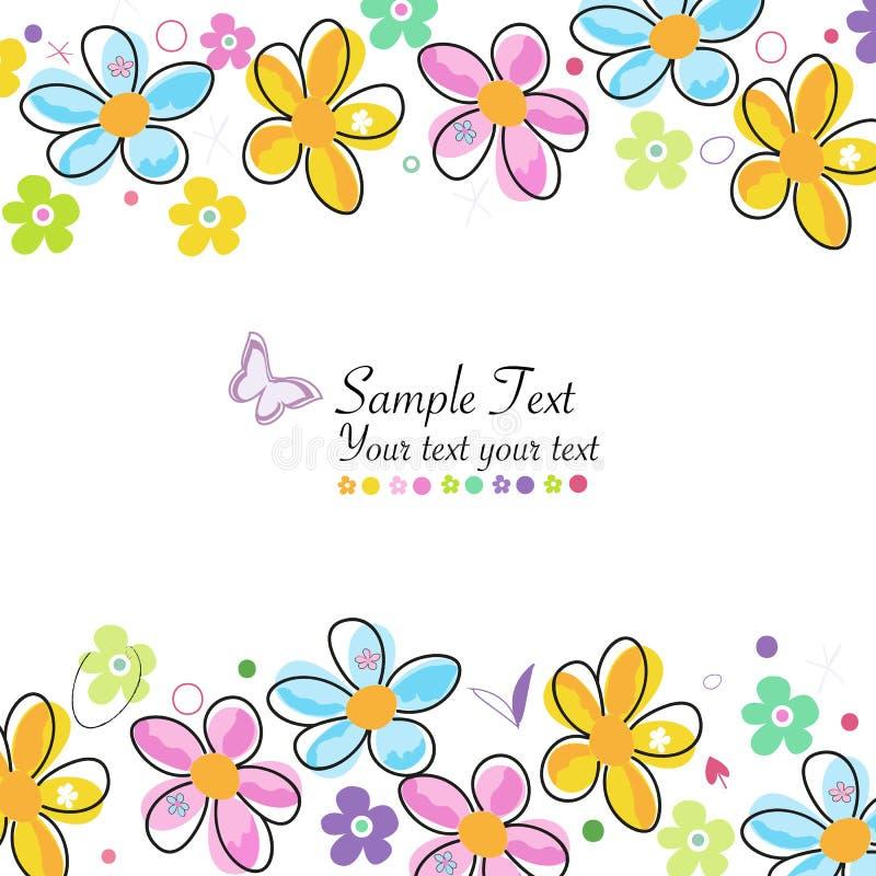 Красочная весна doodle цветет поздравительная открытка рамки бесплатная иллюстрация