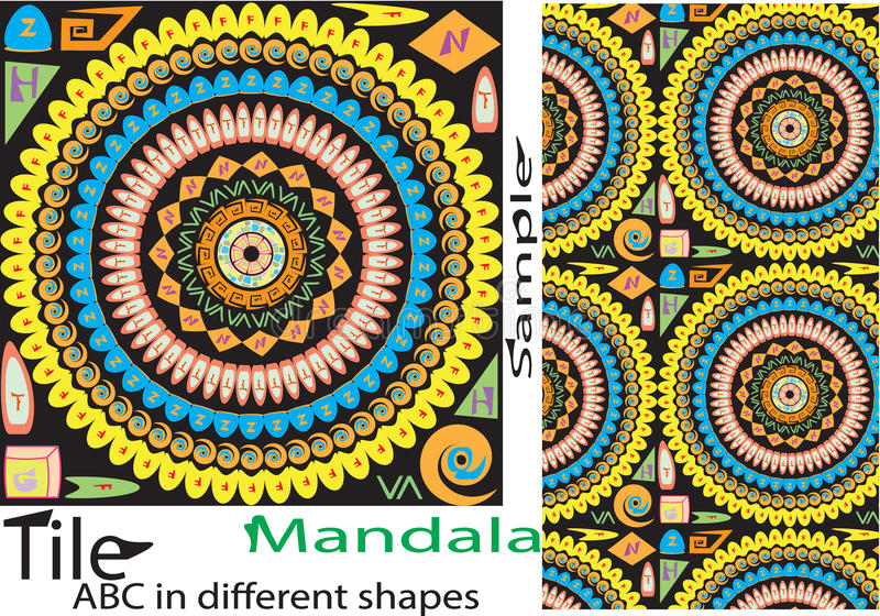 Красочная винтажная безшовная картина с elemen флористических и мандалы иллюстрация вектора