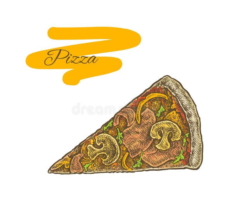 Красочная винтажная схематичная иллюстрация стиля куска пиццы отрезка иллюстрация вектора