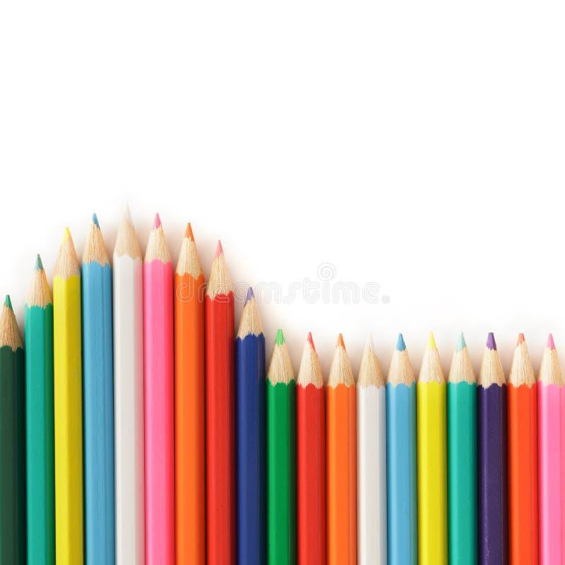 Красочная волна карандаша радуги изолированная на белой предпосылке стоковые изображения rf