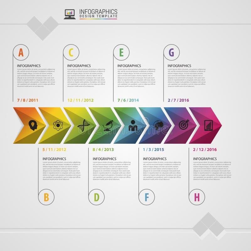 Красочная временная последовательность по Timeline Шаблон дизайна Infographic принципиальная схема самомоднейшая также вектор илл иллюстрация штока