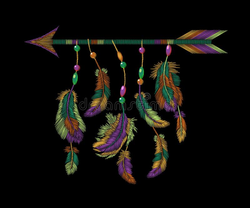 Красочная вышивка стрелки пер Мотива птицы одежд Boho предпосылка племенного американского индийского этническая вышитая иллюстрация вектора