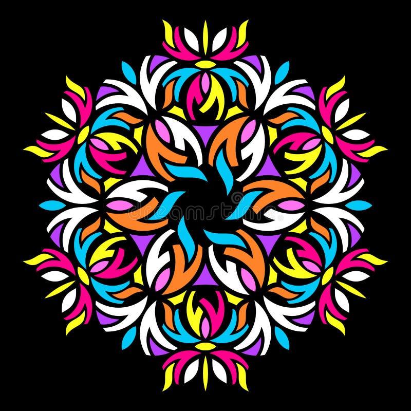 Красочная геометрическая абстрактная круглая мандала иллюстрация вектора