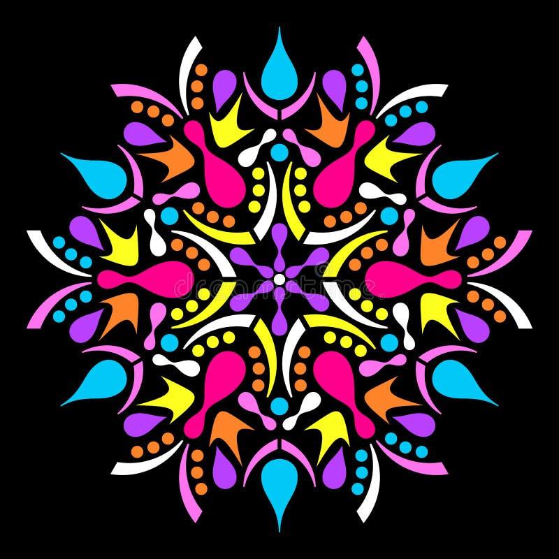 Красочная геометрическая абстрактная мандала иллюстрация вектора