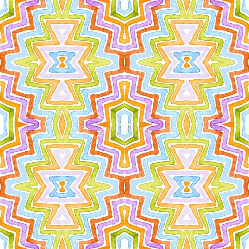 Красочная геометрическая акварель Ослеплять безшовная картина Нашивки нарисованные рукой Текстура щетки Gorgeou иллюстрация штока