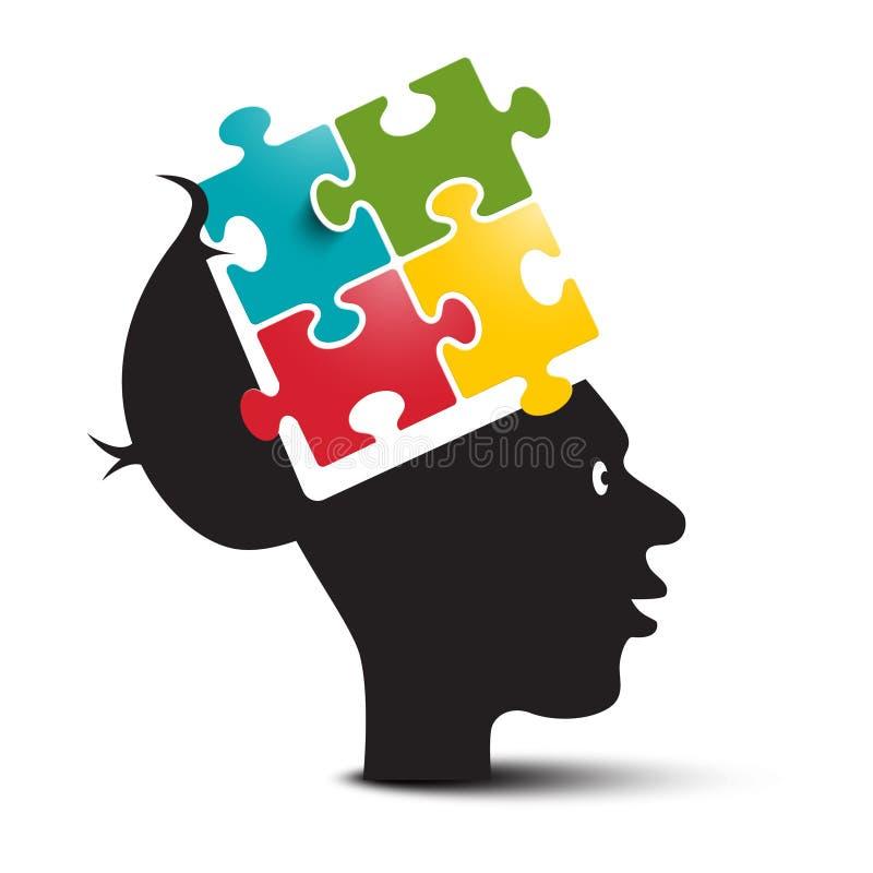 Красочная головоломка в человеческом мозге Открытая голова с зигзагом изолированным на белой предпосылке иллюстрация вектора