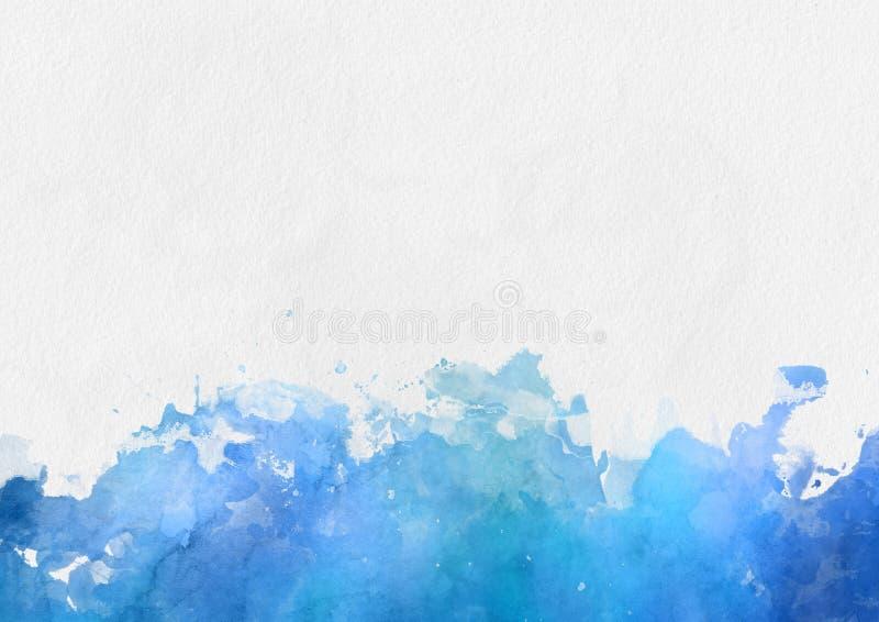 Красочная голубая граница краски акварели иллюстрация вектора