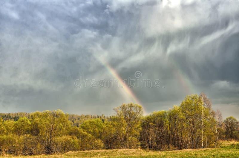 Красочная двойная радуга на облачном небе над лесом после весеннего дождя стоковые фото