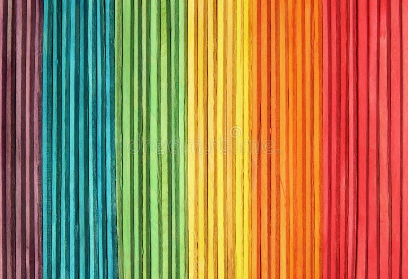 Красочная деревянная предпосылка текстуры стены в яркой картине цветов радуги стоковая фотография rf