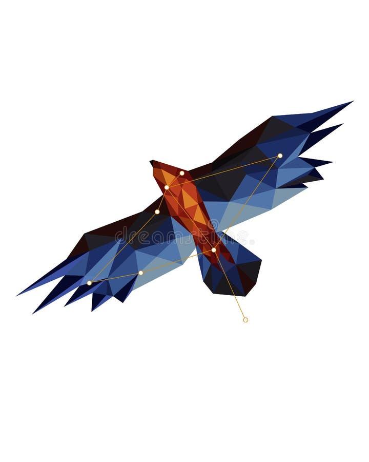Красочная диаграмма искусство орла в lowpoly стиле на белой предпосылке иллюстрация вектора