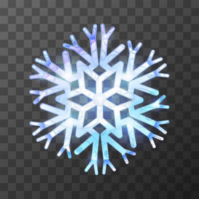 Красочная ледистая снежинка с яркими светом и отражениями иллюстрация вектора