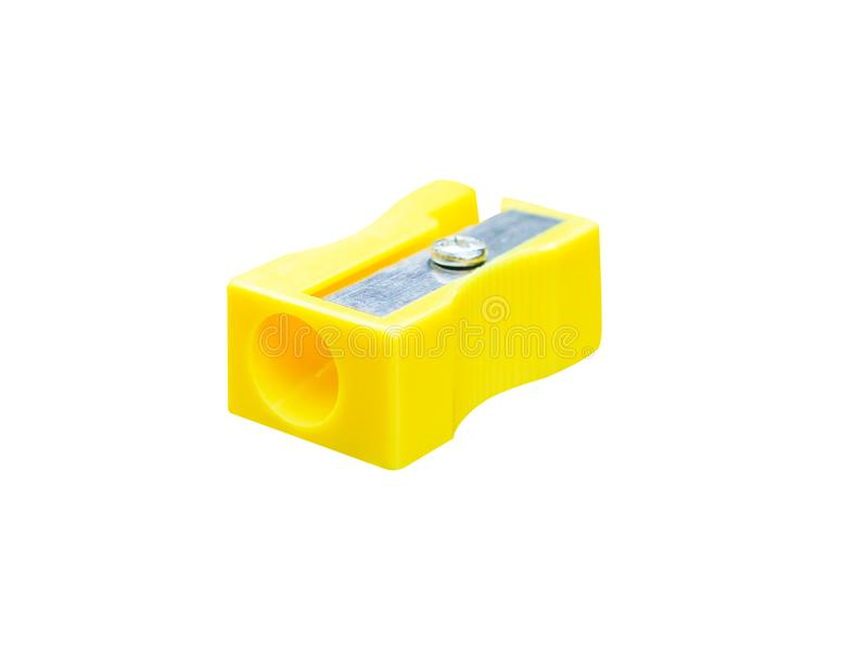 Красочная желтая точилка для карандашей изолированная на белой предпосылке с путем клиппирования стоковая фотография