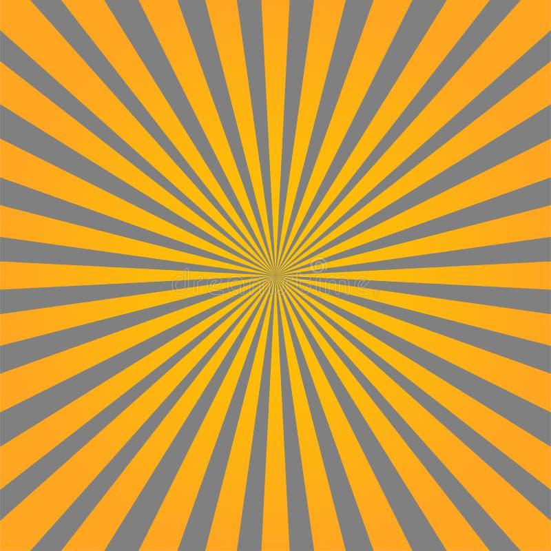 Красочная желтая и серая предпосылка конспекта стиля sunburst луча иллюстрация штока