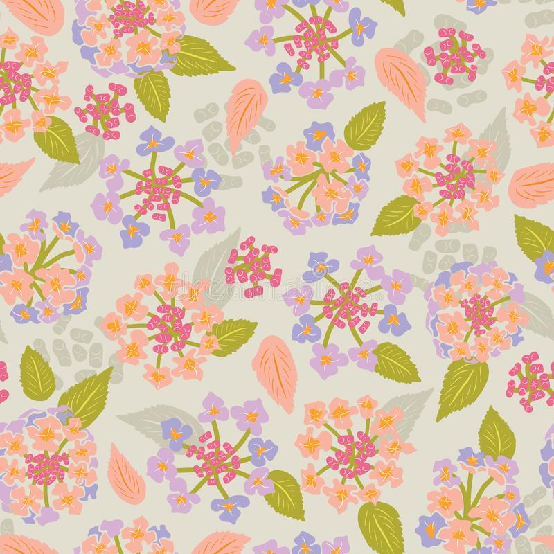 Красочная зацветая картина вектора лета цветка lantana флористическая безшовная для ткани, обоев, scrapbooking, проектов иллюстрация штока