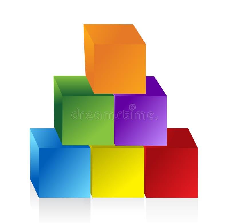 Красочная диаграмма пирамиды иллюстрация вектора