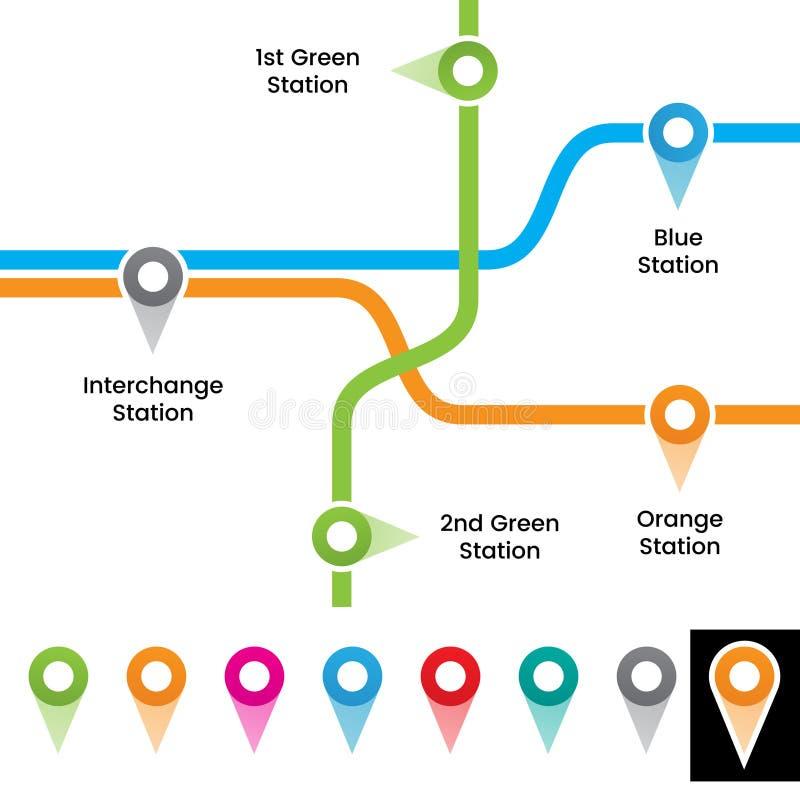 Красочная иллюстрация вектора отметок станции метро иллюстрация штока