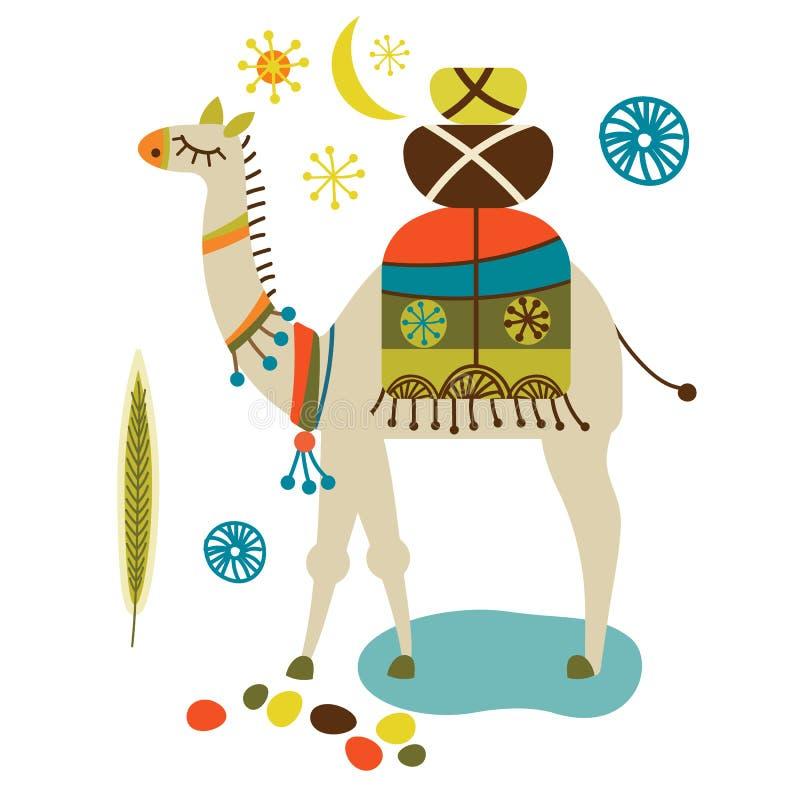 Красочная иллюстрация верблюда на белой предпосылке иллюстрация штока