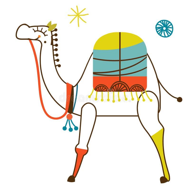 Красочная иллюстрация верблюда на белой предпосылке бесплатная иллюстрация