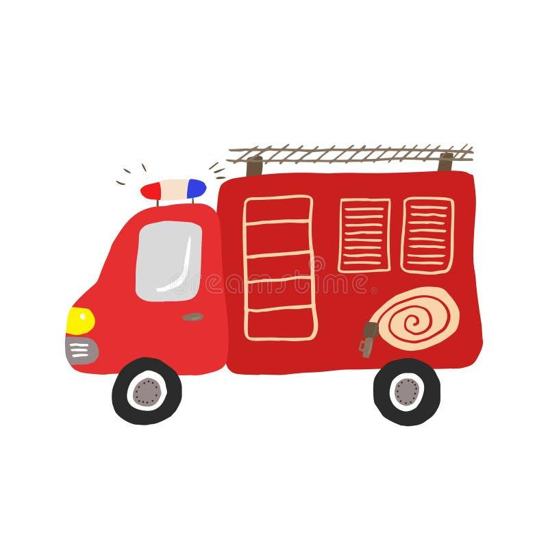 Красочная иллюстрация, дети забавляется пожарная машина стоковая фотография