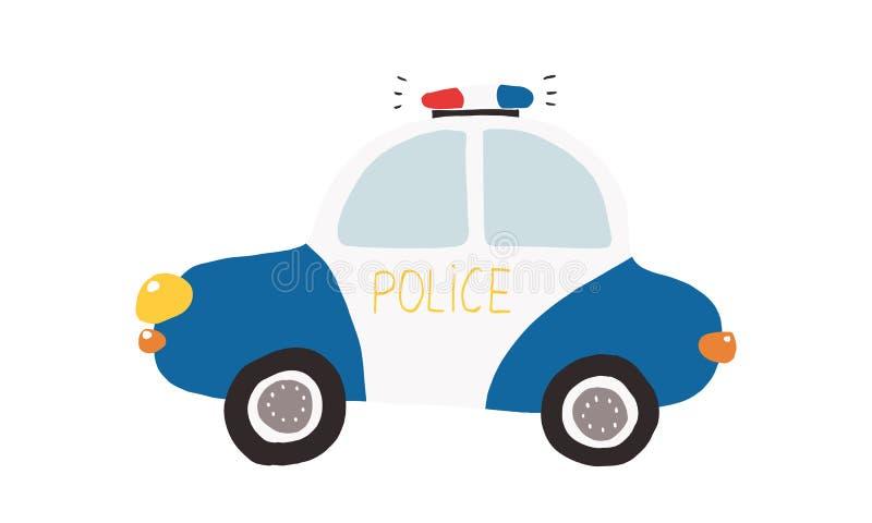 Красочная иллюстрация, дети забавляется полицейская машина стоковые изображения rf