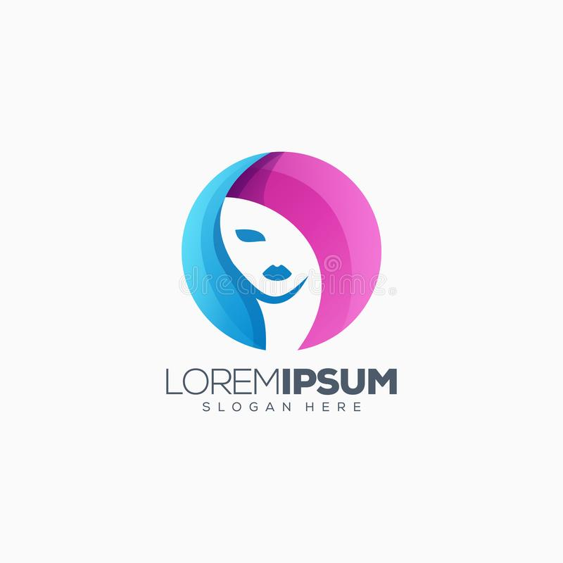 Красочная иллюстрация дизайна логотипа женщины иллюстрация штока