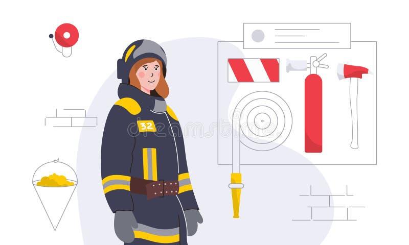 Красочная иллюстрация с женщин-пожарным и оборудованием бесплатная иллюстрация