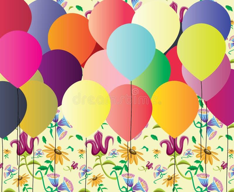 Красочная иллюстрация с праздничными воздушными шарами партия фантазии стоковое фото