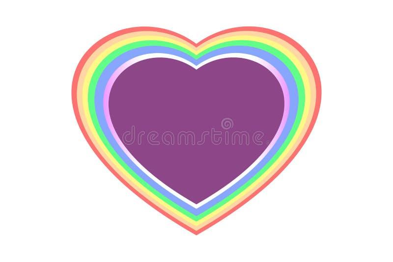 Красочная и мульти-наслоенная форма сердца радуги над фиолетовым цветом, изолированным на белой прозрачной предпосылке - разбивоч иллюстрация вектора