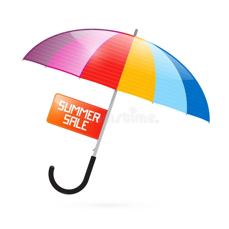 Красочная иллюстрация зонтика с названием продажи лета иллюстрация штока
