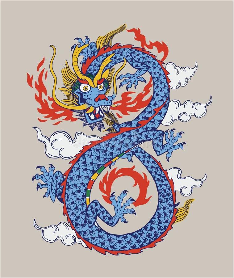 Красочная иллюстрация китайского восточного дракона вектор изолировано иллюстрация вектора