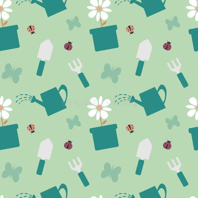 Красочная иллюстрация предпосылки картины садовничая инструментов милая безшовная иллюстрация штока
