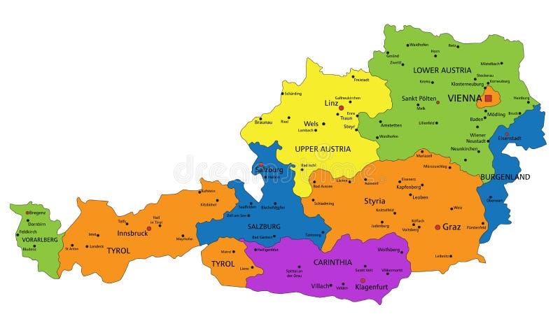 Красочная карта Австрии политическая с ясно обозначенными, отделенными слоями иллюстрация штока