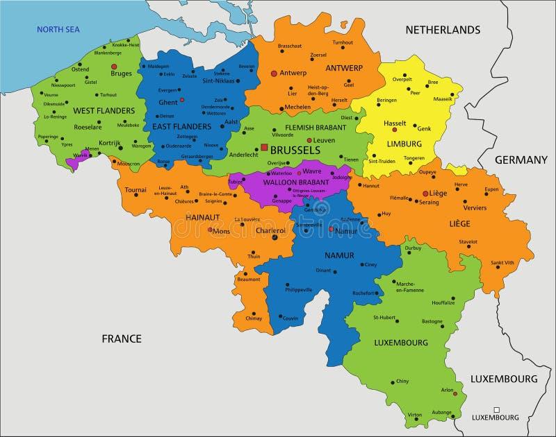 Красочная карта Бельгии политическая с ясно обозначенными, отделенными слоями бесплатная иллюстрация