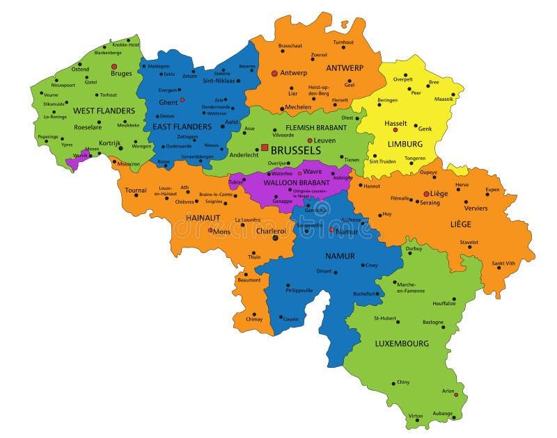 Красочная карта Бельгии политическая с ясно обозначенными, отделенными слоями иллюстрация штока