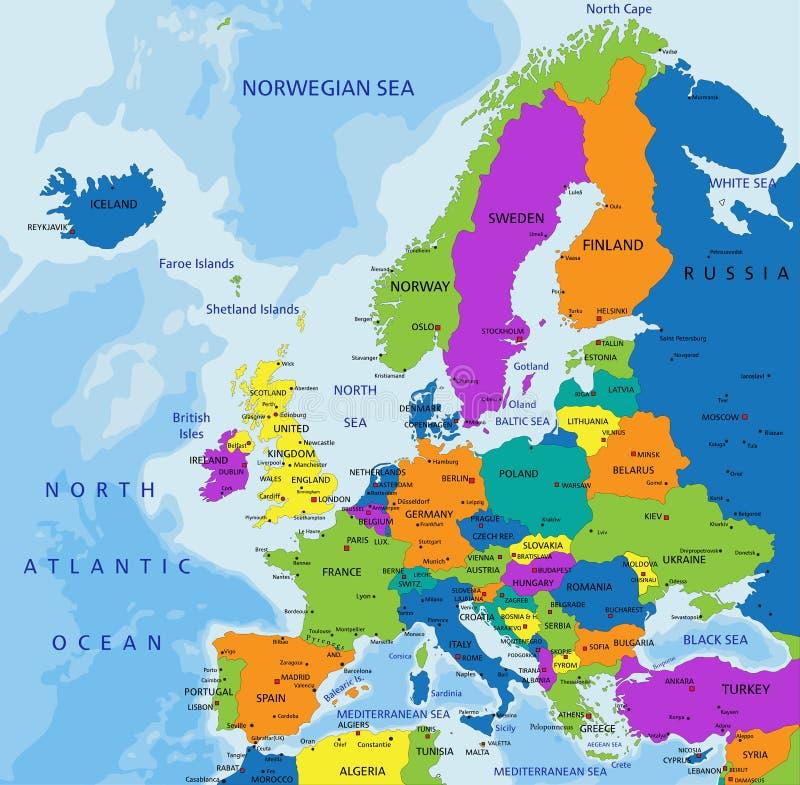 Красочная карта Европы политическая с ясно обозначенными, отделенными слоями иллюстрация вектора