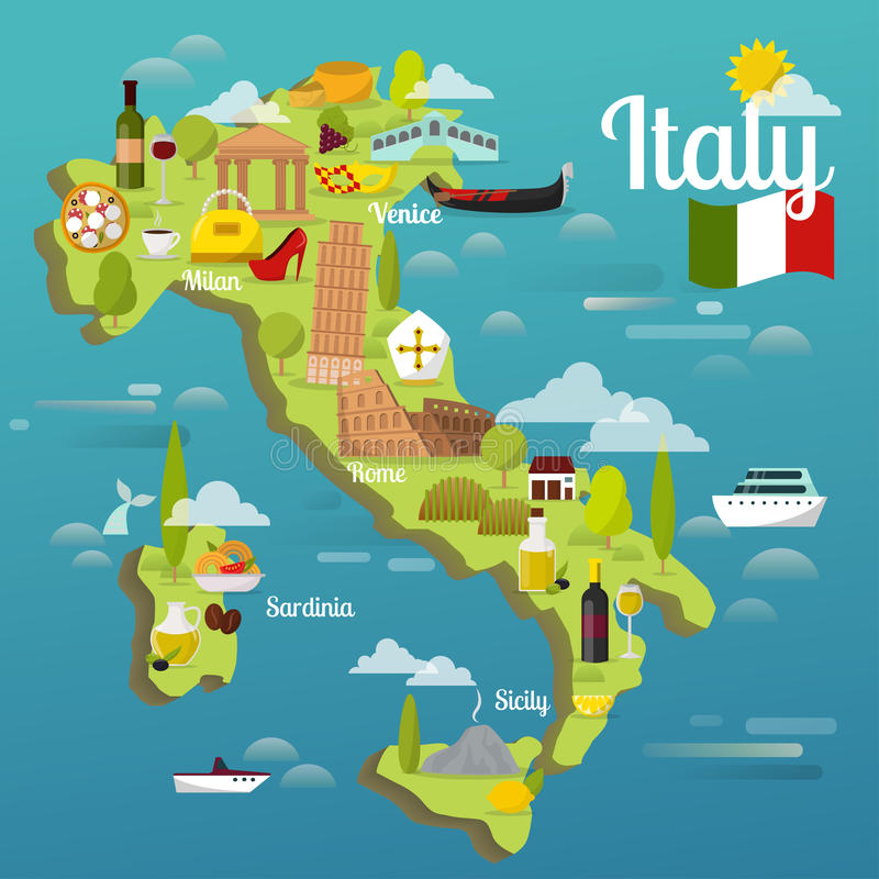 Красочная карта перемещения Италии с иллюстрацией вектора архитектуры мира символов привлекательности итальянской sightseeing иллюстрация вектора
