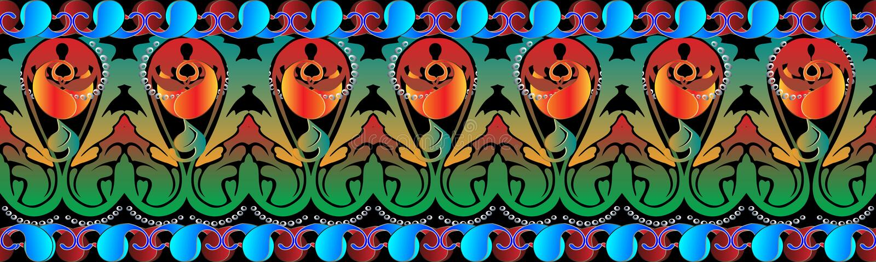 Красочная картина границы Пейсли безшовная Вектор флористический этнический b иллюстрация штока