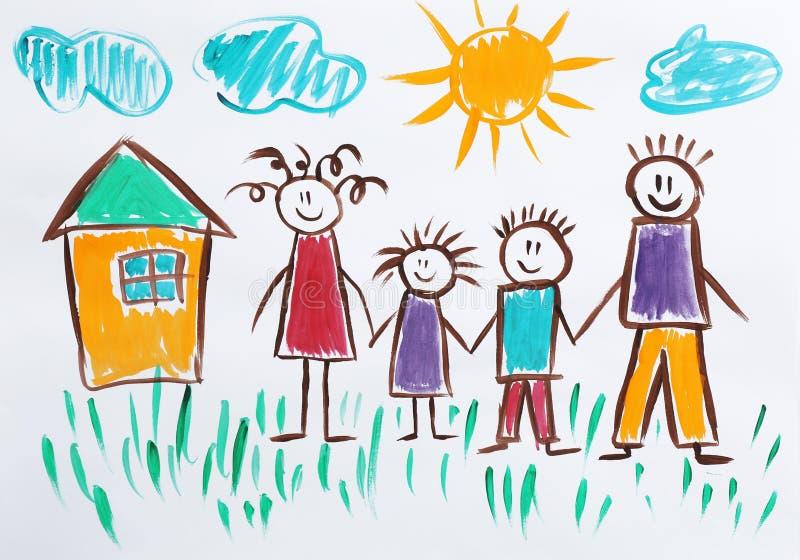 Красочная картина детей счастливой семьи бесплатная иллюстрация