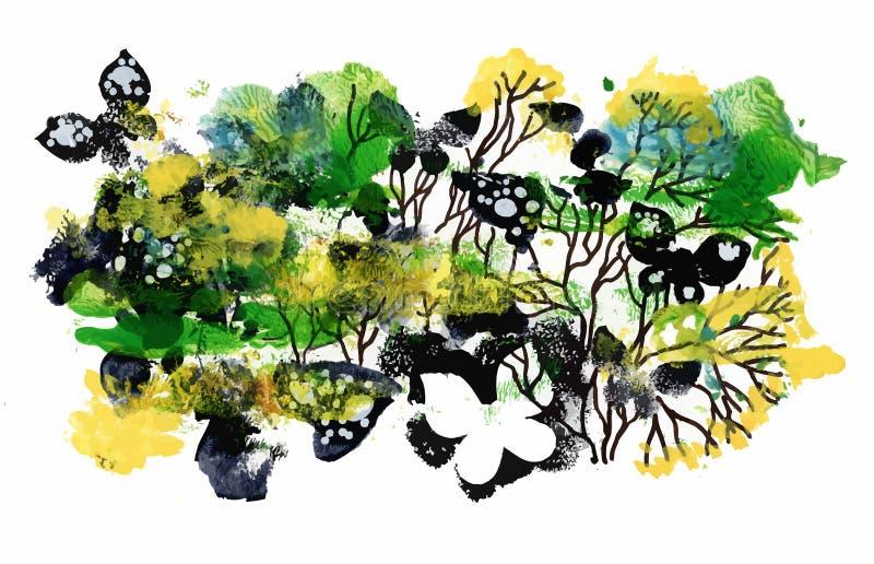 Красочная картина лета с предпосылкой бабочек абстрактной бесплатная иллюстрация
