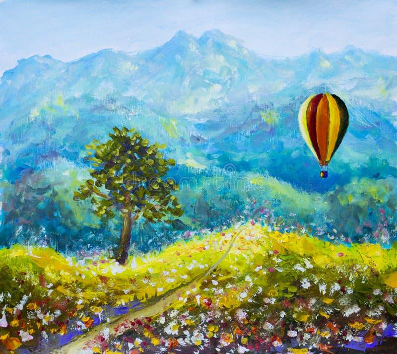 Красочная картина маслом воздушного шара гор иллюстрация штока