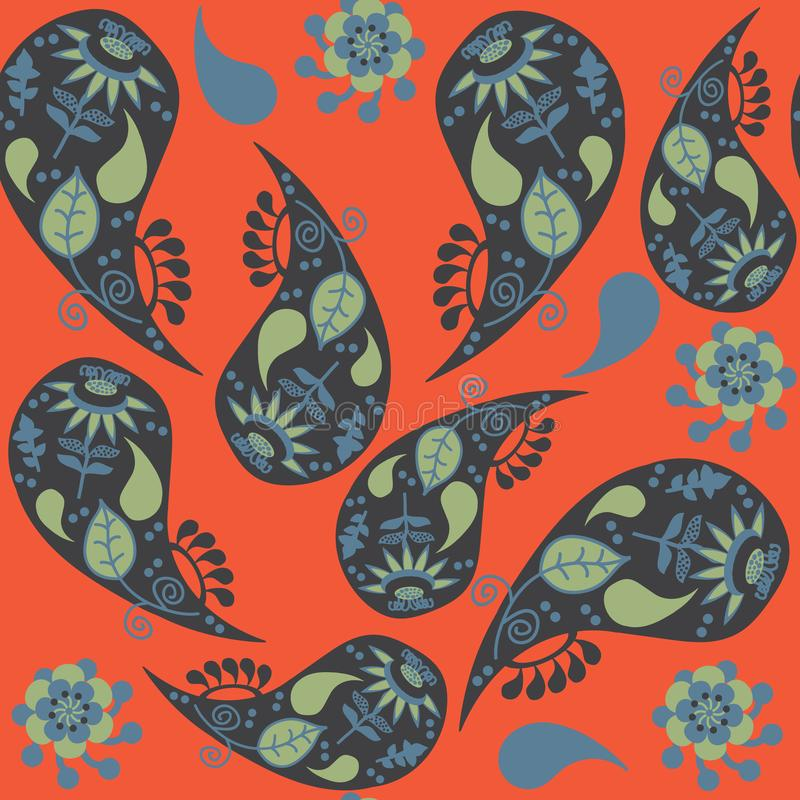 Красочная картина Пейсли безшовная в оранжевой предпосылке Оно расположено в меню образца, иллюстрации вектора иллюстрация штока