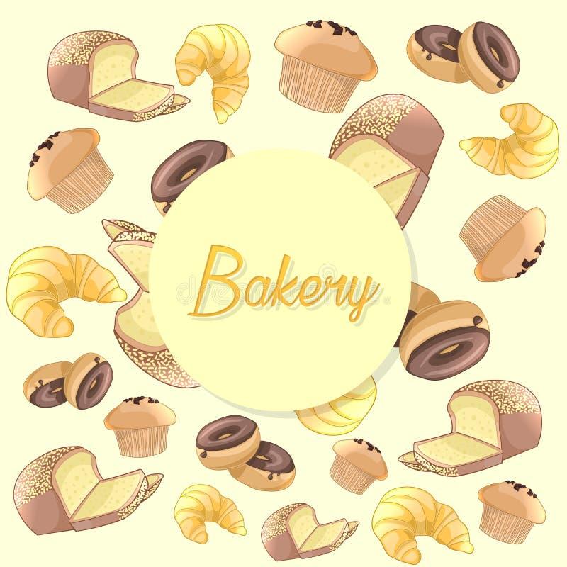 Красочная картина продуктов хлебопекарни Предпосылка вектора иллюстрация штока