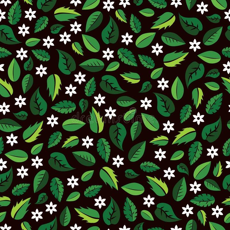 Красочная картина с зелеными листьями и белыми цветками бесплатная иллюстрация