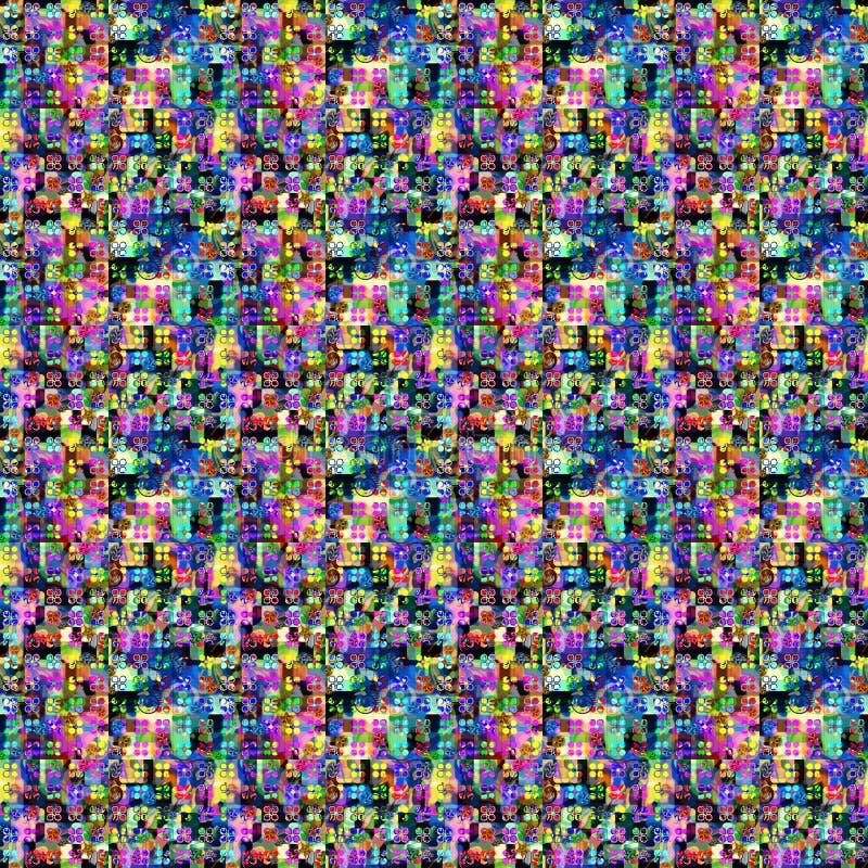 Красочная картина с пунктами и покрашенными областями иллюстрация вектора