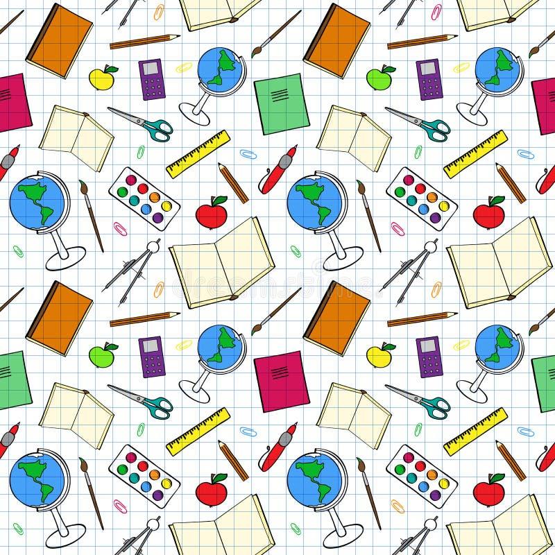 Красочная картина с связанными с школ деталями иллюстрация вектора