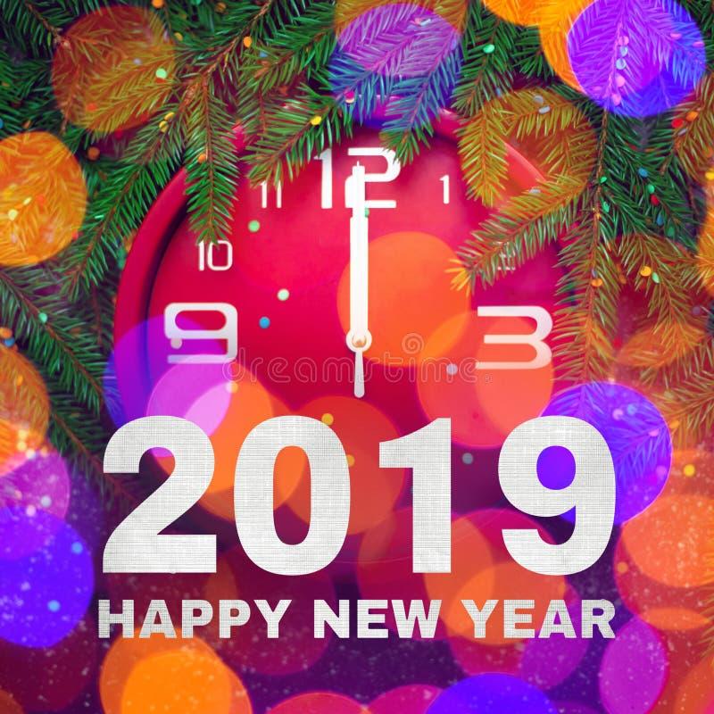 Красочная квадратная поздравительная открытка С Новым Годом! 2019 стоковое фото rf