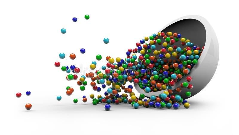 Красочная конфета падая в иллюстрацию стеклянной пластинки 3D бесплатная иллюстрация