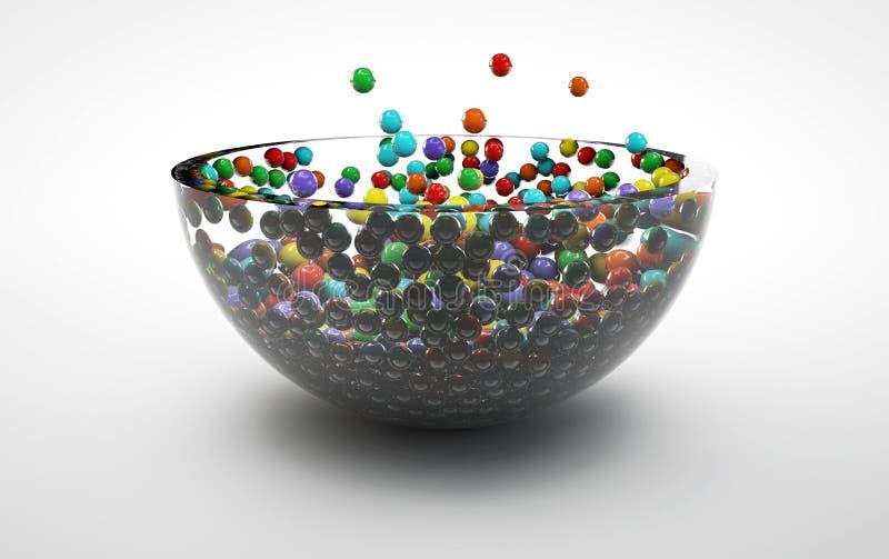 Красочная конфета падая в стеклянную пластинку стоковая фотография