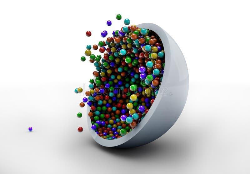 Красочная конфета падая в стеклянную пластинку иллюстрация штока