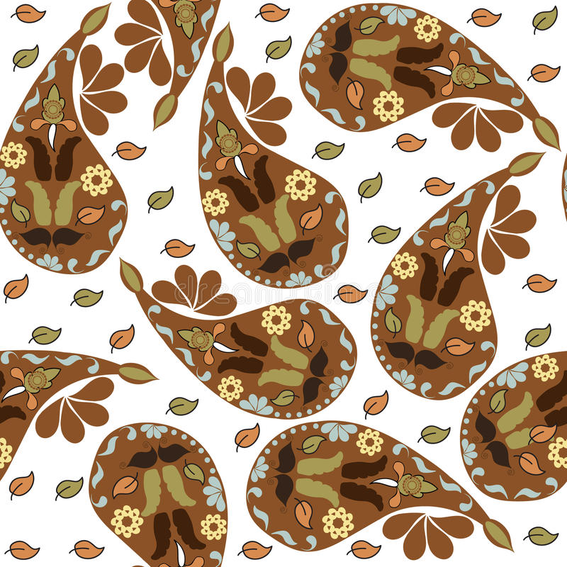 Красочная коричневая картина Пейсли безшовная и безшовная картина внутри иллюстрация вектора